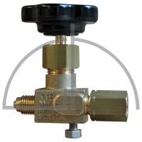 """Manometer-Absperrventil, Anschluss: Zapfen / Spannmuffe G 1/4"""" mit Entlüftungsschraube, Werkstoff: Messing"""