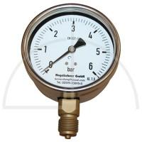 "Rohrfeder Manometer Nenngröße 100; 0 - 40 bar; Anschluss G1/2"" unten; Kl. 1,0; CrNi-Stahl"