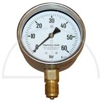 "Rohrfeder Manometer Nenngröße 100; 0 - 60 bar; Anschluss G1/2"" unten; Kl. 1,0; CrNi-Stahl"