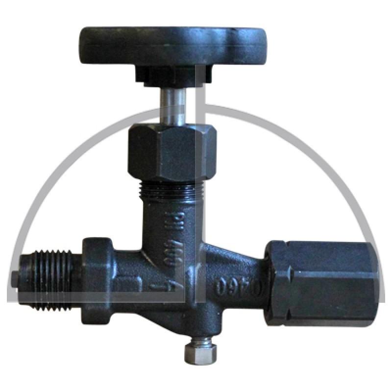 """Absperrventil DIN 16270 Form A; Stahl 1.0460, Zapfen und Spannmuffe G1/2""""; PN400, Entlüftungsschraube"""