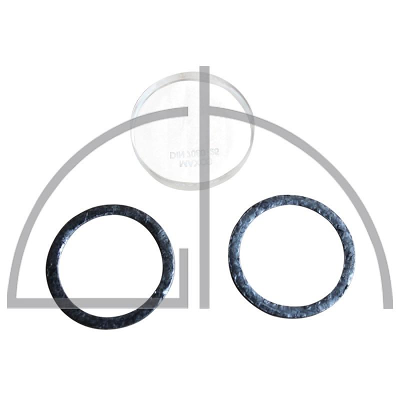 gehärtete Borosilicatglasscheibe; Ø 63 x 15 + Dichtungen