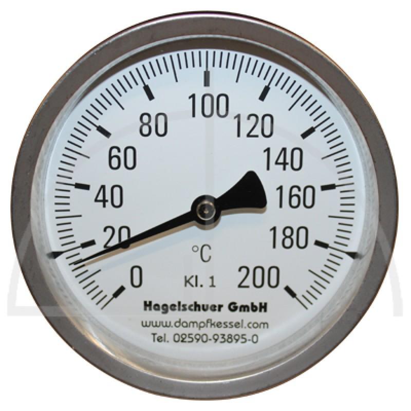 Bimetall-Zeiger-Thermometer, Metallgehäuse Kl. 1, Messbereich 0-200 ...