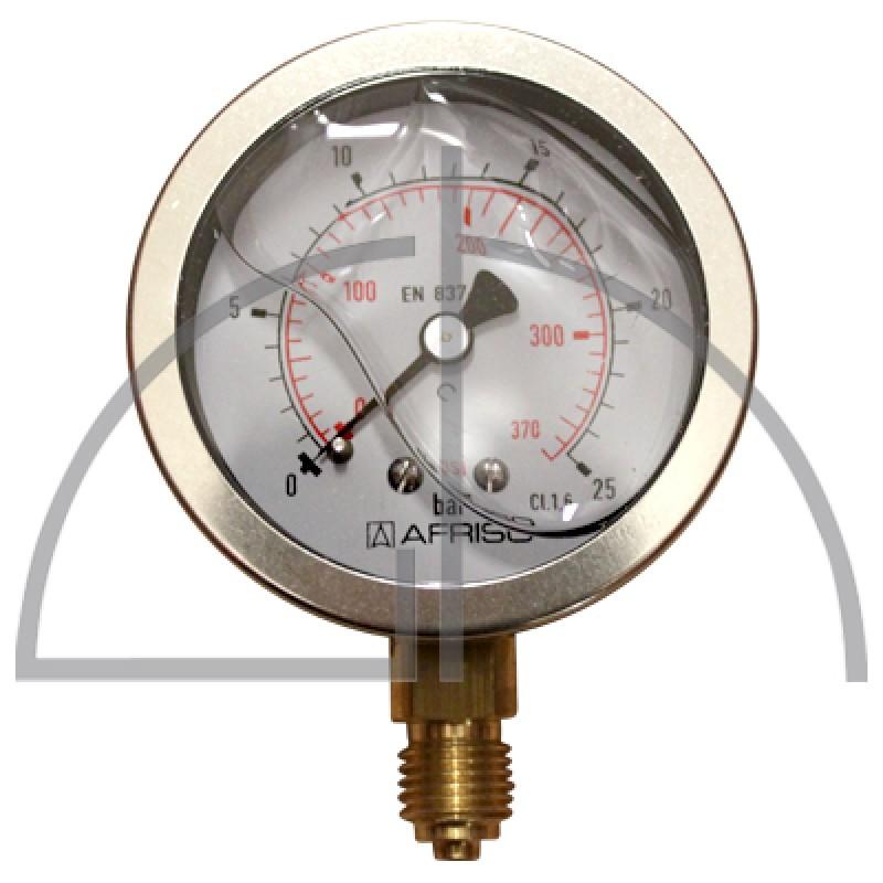 """Rohrfeder Manometer, Nenngröße 63, 0/+ 25 bar; Anschluss G1/4"""" mit GLYZERINfüllung Kl. 1,6; CrNi-Stahl"""