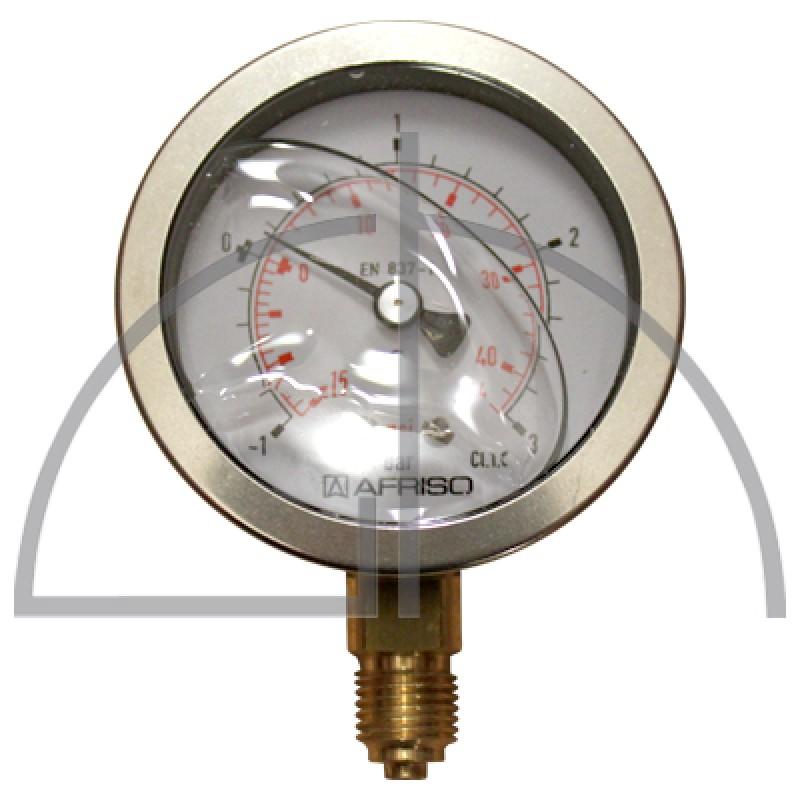 """Rohrfeder Manometer, Nenngröße 63, -1/+ 3 bar; Anschluss G1/4"""" mit GLYZERINfüllung Kl. 1,6; CrNi-Stahl"""