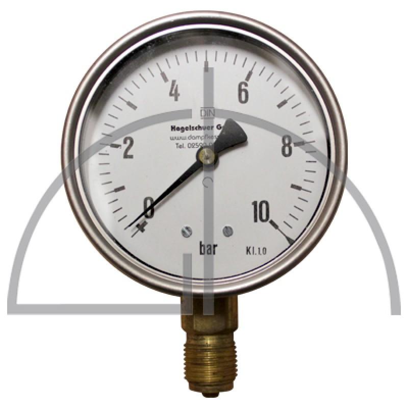 "Rohrfeder Manometer Nenngröße 100; 0 - 10,0 bar; Anschluss G1/2"" unten; Kl. 1,0; CrNi-Stahl"