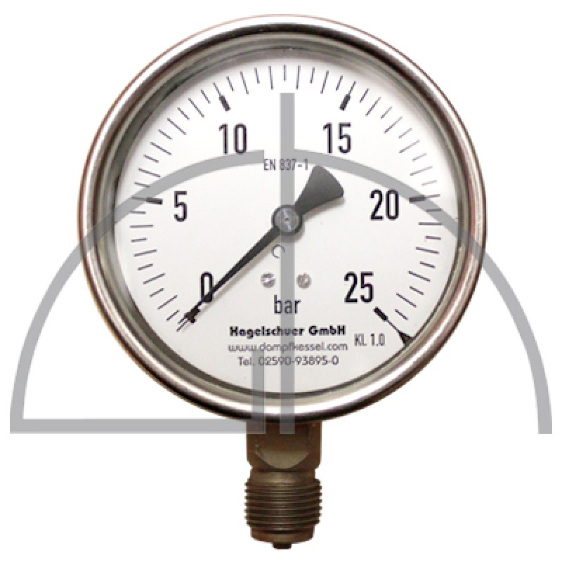 "Rohrfeder Manometer Nenngröße 100; 0 - 25 bar; Anschluss G1/2"" unten; Kl. 1,0; CrNi-Stahl"