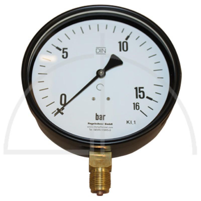 """Rohrfeder Manometer Kl. 1,6; Stahl schwarz Nenngröße 160; 0 - 16 bar; Anschluss G1/2"""" unten"""