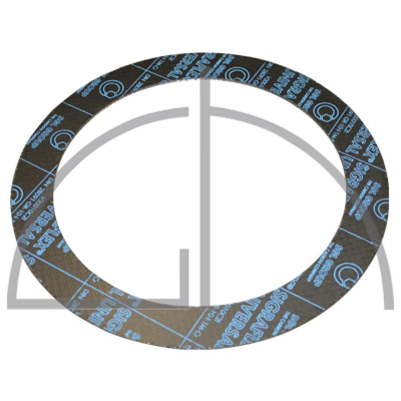 Flanschdichtung - Sigraflex Reingrafitdichtung mit Spießblecheinlage DN125, PN40, 195 x 141 x 2,0mm