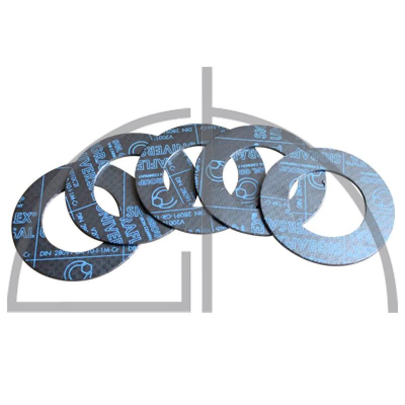Flanschdichtungen Pack (5 Stück) - Sigraflex Reingrafitdichtungen mit Spießblecheinlage DN32, PN10-40, 82 x 43 x 2,0mm
