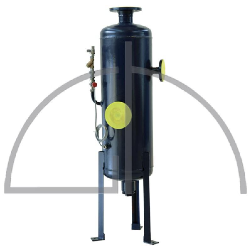 Abschlammentspannner Größe 200 Liter aus schwarzem Stahl mit allen erforderlichen Anschlüssen