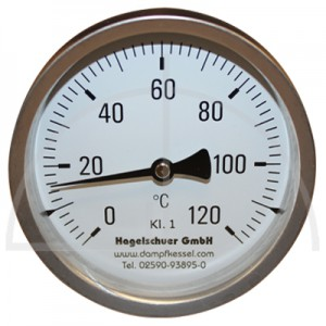 Bimetall-Zeiger-Thermometer, Metallgehäuse Kl. 1, Messbereich 0-120°, Fühlerlänge 160 mm, Ø 100 mm