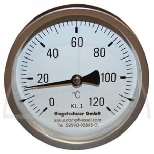 Bimetall-Zeiger-Thermometer, Metallgehäuse Kl.1, Messbereich 0-120°, Fühlerlänge 300 mm, Ø 100 mm