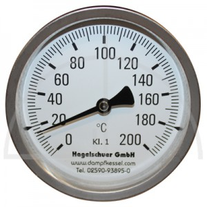 Bimetall-Zeiger-Thermometer, Metallgehäuse Kl. 1, Messbereich 0-120°, Fühlerlänge 120 mm, Ø 100 mm