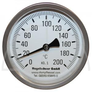 Bimetall-Zeiger-Thermometer,  Metallgehäuse Kl. 1, Messbereich 0-200°, Fühlerlänge 63 mm, Ø 100 mm