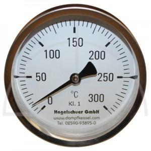 Bimetall-Zeiger-Thermometer, Metallgehäuse Kl. 1, Messbereich 0-300°, Fühlerlänge 160 mm, Ø 100 mm