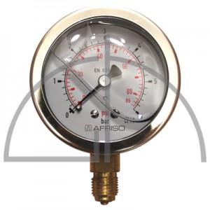 """Rohrfeder Manometer, Nenngröße 63, 0/+ 6,0 bar; Anschluss G1/4"""" mit GLYZERINfüllung Kl. 1,6; CrNi-Stahl"""