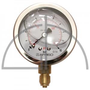 """Rohrfeder Manometer, Nenngröße 63, 0/+ 10 bar; Anschluss G1/4"""" mit GLYZERINfüllung Kl. 1,6; CrNi-Stahl"""