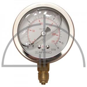 """Rohrfeder Manometer, Nenngröße 63, 0/+ 16 bar; Anschluss G1/4"""" mit GLYZERINfüllung Kl. 1,6; CrNi-Stahl"""