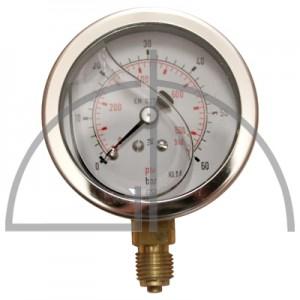 """Rohrfeder Manometer, Nenngröße 63, 0/+  60 bar; Anschluss G1/4"""" mit GLYZERINfüllung Kl. 1,6; CrNi-Stahl"""
