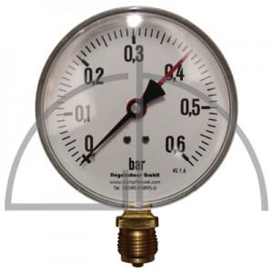 """Rohrfeder Manometer Nenngröße 100; 0 - 0,6 bar; Anschluss G1/2"""" unten; Kl. 1,6; Stahl schwarz"""