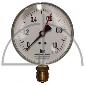"""Rohrfeder Manometer Nenngröße 100; 0 - 1,0 bar; Anschluss G1/2"""" unten; Kl. 1,6; Stahl schwarz"""