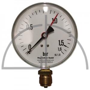 """Rohrfeder Manometer Nenngröße 100; 0 - 1,6 bar; Anschluss G1/2"""" unten; Kl. 1,6; Stahl schwarz"""