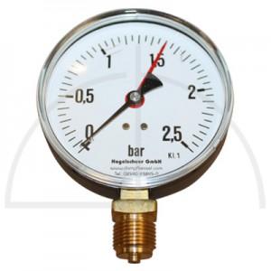 """Rohrfeder Manometer Nenngröße 100; 0 - 2,5 bar; Anschluss G1/2"""" unten; Kl. 1,6; Stahl schwarz"""