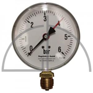 """Rohrfeder Manometer Nenngröße 100; 0 - 6,0 bar; Anschluss G1/2"""" unten; Kl. 1,6; Stahl schwarz"""