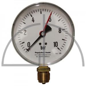 """Rohrfeder Manometer Nenngröße 100; 0 - 10,0 bar; Anschluss G1/2"""" unten; Kl. 1,6; Stahl schwarz"""