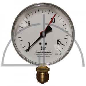 """Rohrfeder Manometer Nenngröße 100; 0 - 16 bar; Anschluss G1/2"""" unten; Kl. 1,6; Stahl schwarz"""