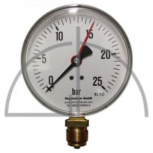 """Rohrfeder Manometer Nenngröße 100; 0 - 25 bar; Anschluss G1/2"""" unten; Kl. 1,6; Stahl schwarz"""