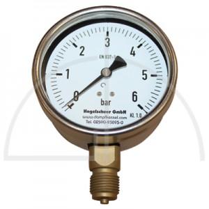 "Rohrfeder Manometer Nenngröße 100; 0 - 6,0 bar;Anschluss G1/2"" unten; Kl. 1,0; CrNi-Stahl"
