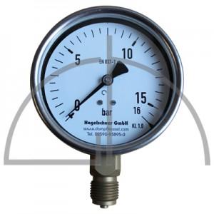 "Rohrfeder Manometer Nenngröße 100; 0 - 16,0 bar; Anschluss G1/2"" unten; Kl. 1,0; CrNi-Stahl"
