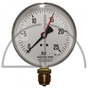 """Rohrfeder Manometer Kl. 1,6; Stahl schwarz Nenngröße 160; 0 - 25 bar; Anschluss G1/2"""" unten"""