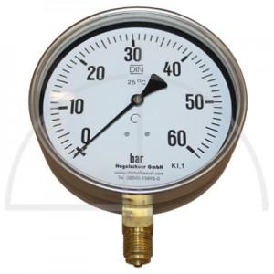 """Rohrfeder Manometer Kl. 1,6; Stahl schwarz Nenngröße 160; 0 - 60 bar; Anschluss G1/2"""" unten"""