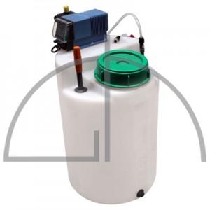 Dosierstation in Kompaktbauweise, Dosierbehälter aus PE, mit eingebauter Sauglanze, mit 2-stufigem Niveauschalter, Hochleistungsdosierpumpe mit Elektronik