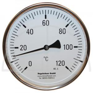Bimetall-Zeiger-Thermometer, Metallgehäuse Kl. 1, Messbereich 0-120°, Fühlerlänge 65 mm, Ø 160 mm