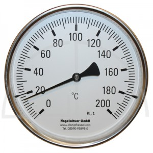 Bimetall-Zeiger-Thermometer, Metallgehäuse Kl. 1,  Messbereich 0-200°, Fühlerlänge 100 mm, Ø 160 mm