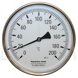 Bimetall-Zeiger-Thermometer, Metallgehäuse Kl. 1, Messbereich 0-200°, Fühlerlänge 400 mm, Ø 160 mm