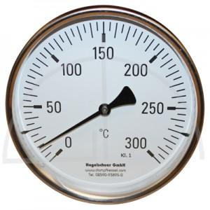 Bimetall-Zeiger-Thermometer, Metallgehäuse Kl. 1, Messbereich 0-300°, Fühlerlänge 300 mm, Ø 160 mm