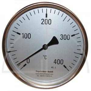 Bimetall-Zeiger-Thermometer, Metallgehäuse Kl. 1, Messbereich 0-400°, Fühlerlänge 400 mm, Ø 160 mm