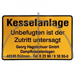 """Aufkleber """"Kesselanlage Unbefugten..."""" Farbe: schwarz auf gelb; Abm.: 300x200"""
