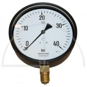 """Rohrfeder Manometer Kl. 1,6; Stahl schwarz Nenngröße 160; 0 - 40 bar; Anschluss G1/2"""" unten"""